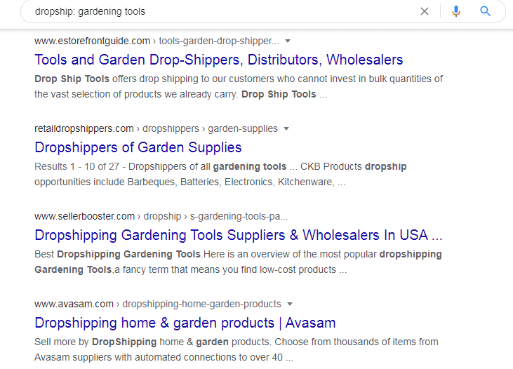 Google search on dropship gardening tools
