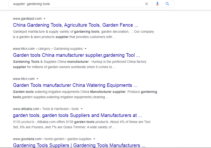Google search on supplier gardening tools