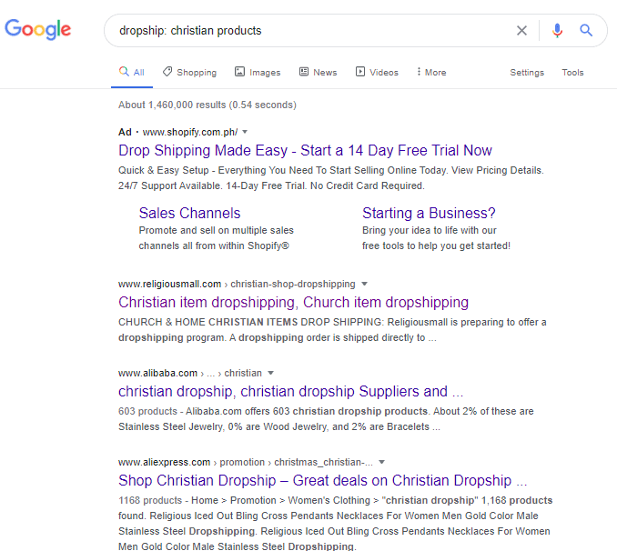 Google search on dropship christian products