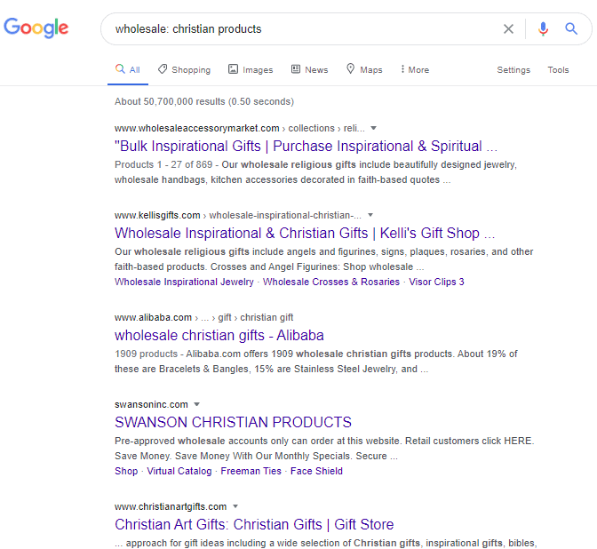 Google search on Wholesale christian products
