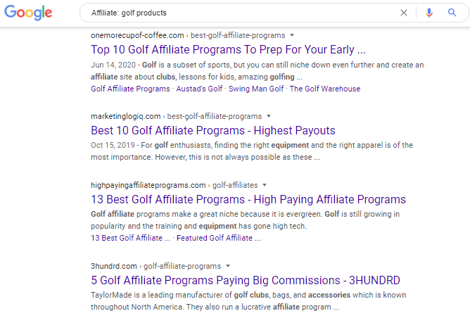 Google search on Affiliate golf products