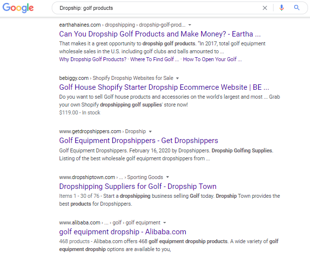 Google search on dropship golf products