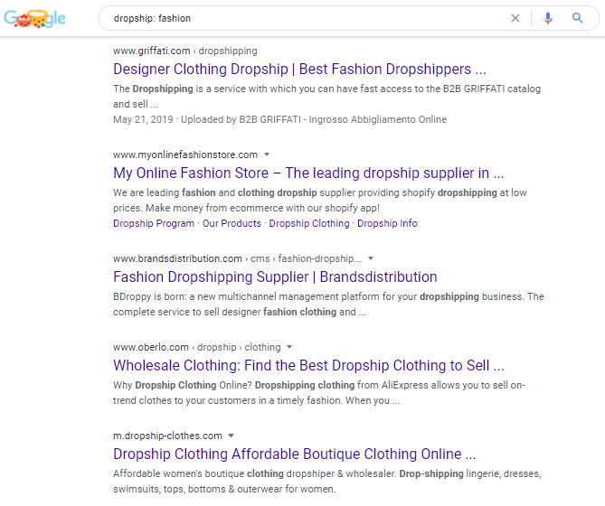 Google search on dropship fashion