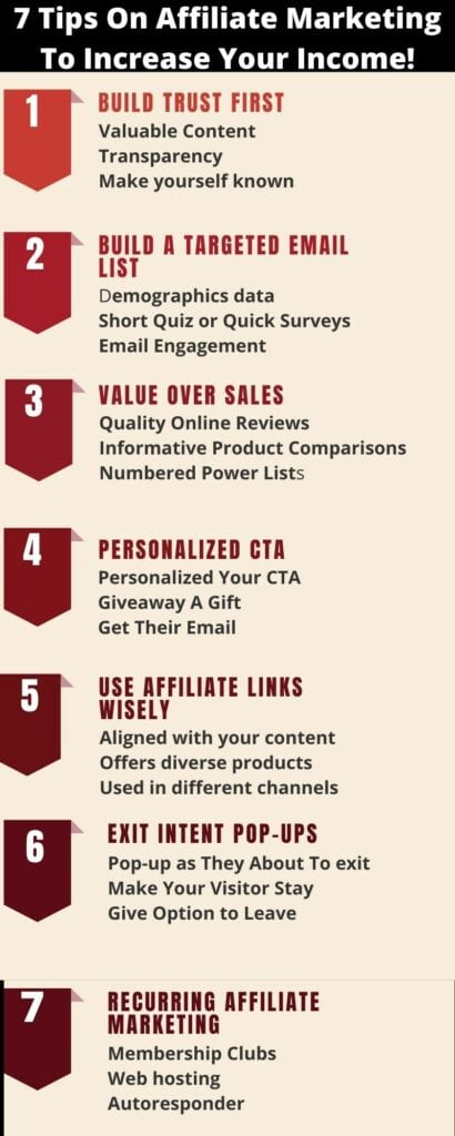 7 tips on affiliate marketing to increase your income
