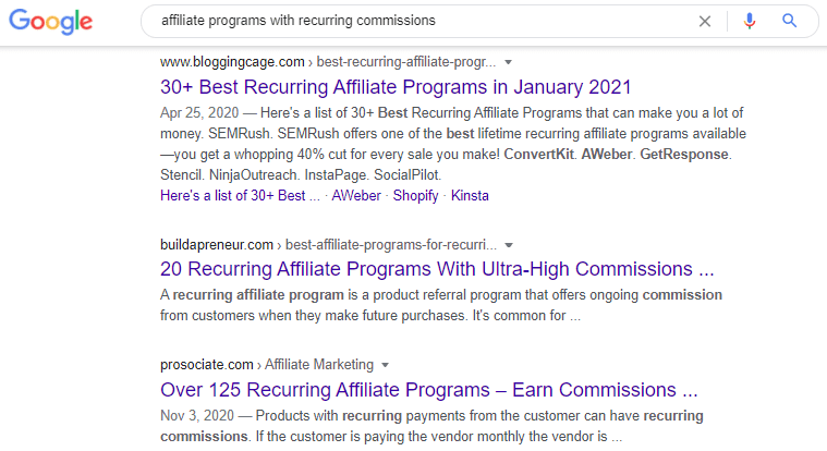 doing a search for affiliate programs with recurring commissions
