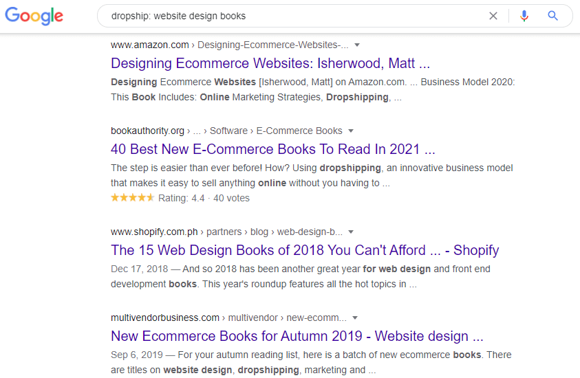 Google search on website design books