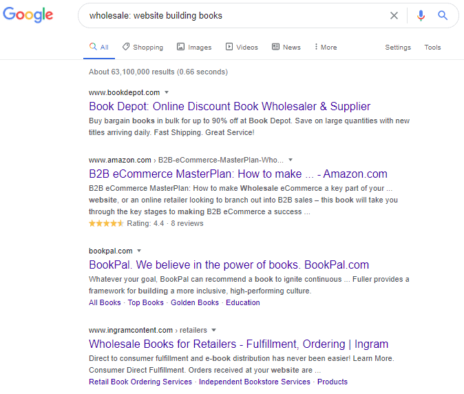 Google search on website building books
