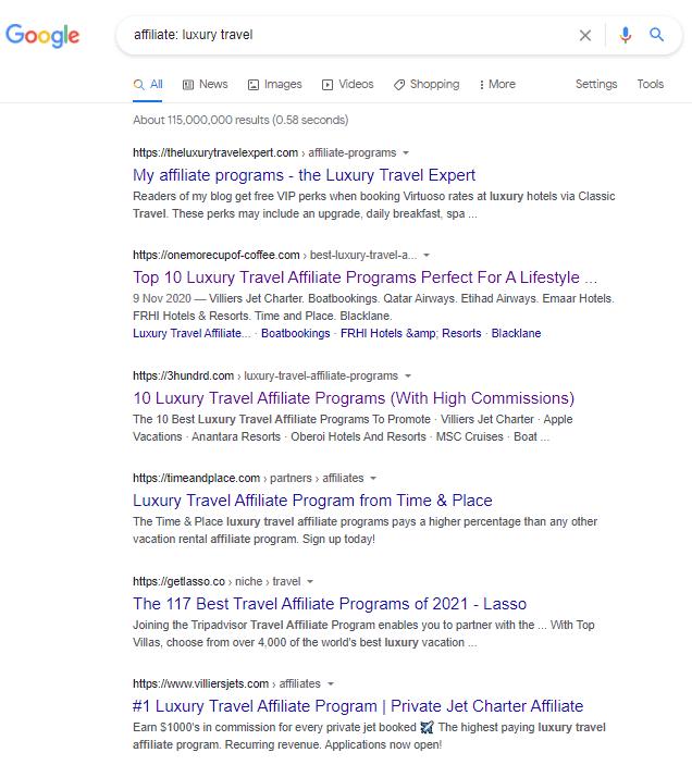 Google search on luxury travel