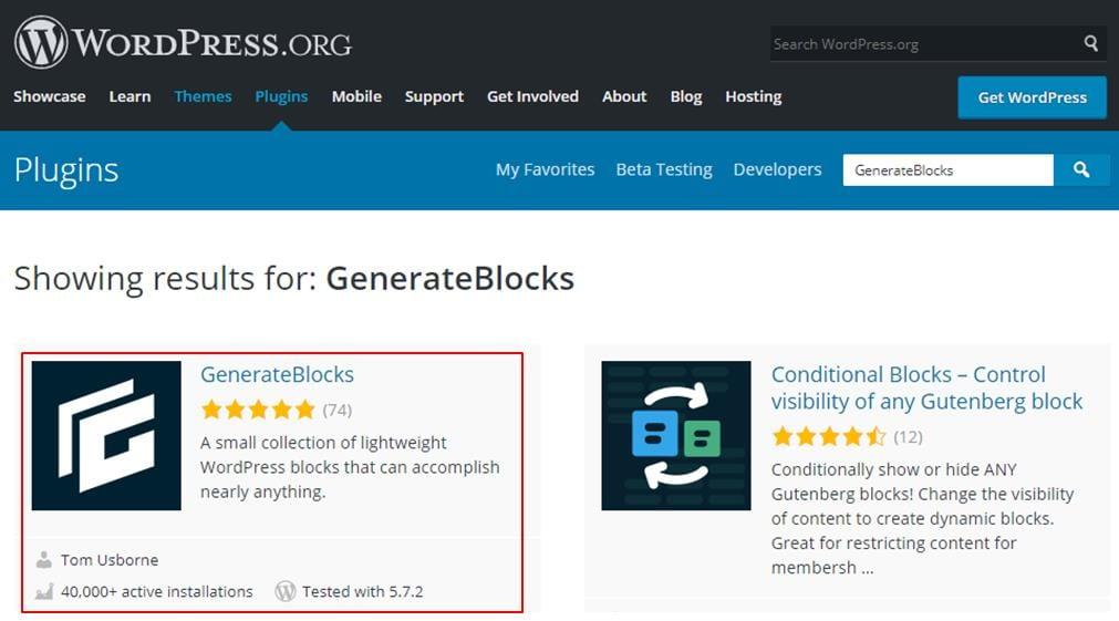 showing results for GenerateBlocks in WordPress