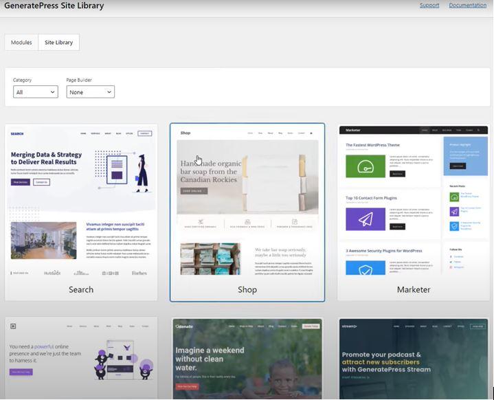 GeneratePress Premium Review - Site library