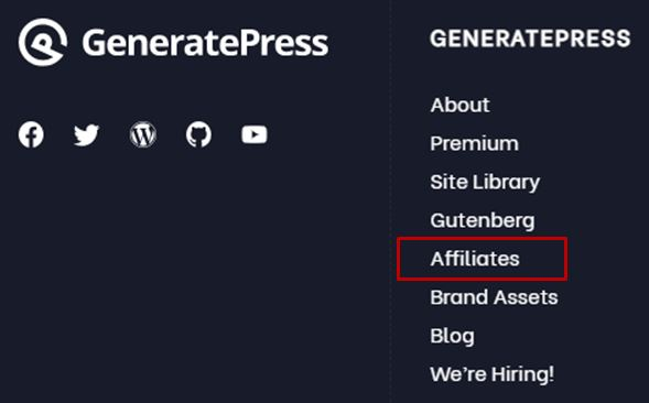 being an affiliate with GeneratePress