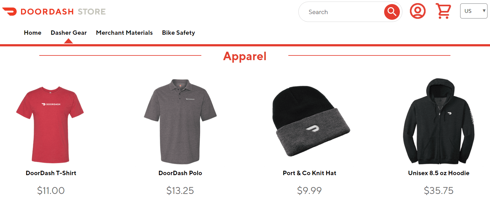 Doordash store and their gear