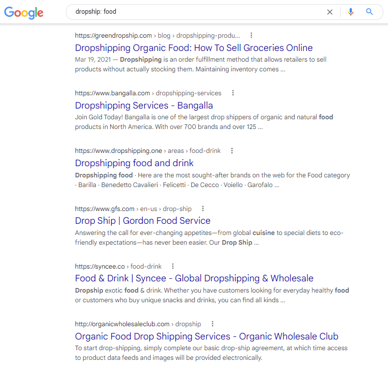 Google search on dropship food