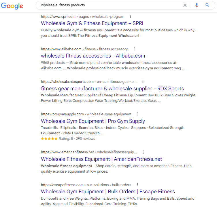 Google search on wholesale fitness products
