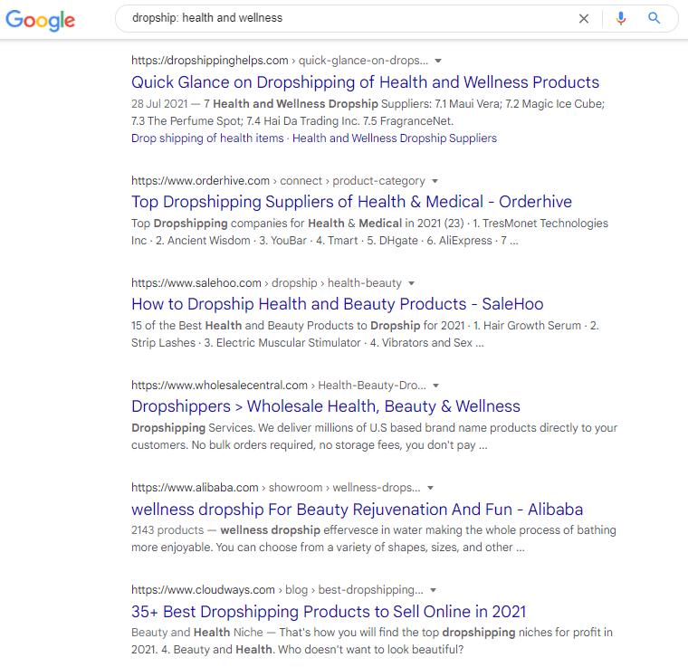 Google search on dropship
