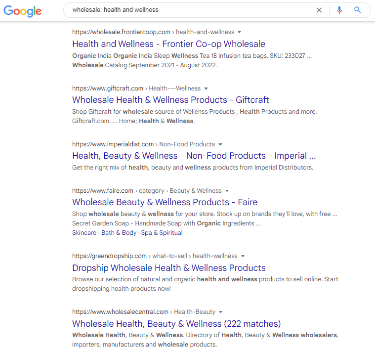 Google search on wholesale health and wellness